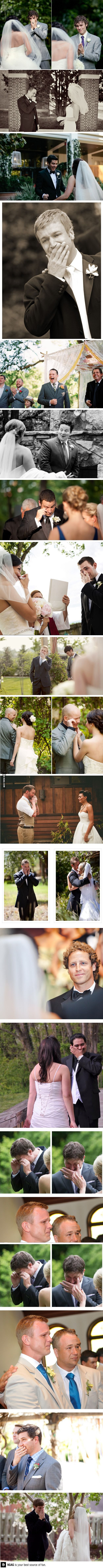 The groom's reactions when they see their bride in a wedding dress for the first time