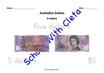These pages are designed for young kids to colour the coins, as well as trace the different ways in which you can write the different Australian coins.e.g. five cents, 5 cents and 5c.This set of worksheets have large images and are in large font and designed for young children to gain a basic familiarity that these all equal the same value.These money worksheets have a page dedicated to each of the following:$5, $10, $20, $50 and $100.Please check out the rest of my worksheets in the…