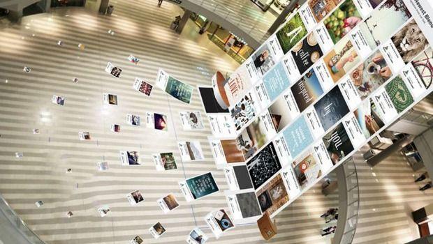 """ara crear la mezcla """"Real Inspiration Blend"""", crearon un tablero de Pinterest gigante de 19 metros de alto en el centro comercial más grande..."""