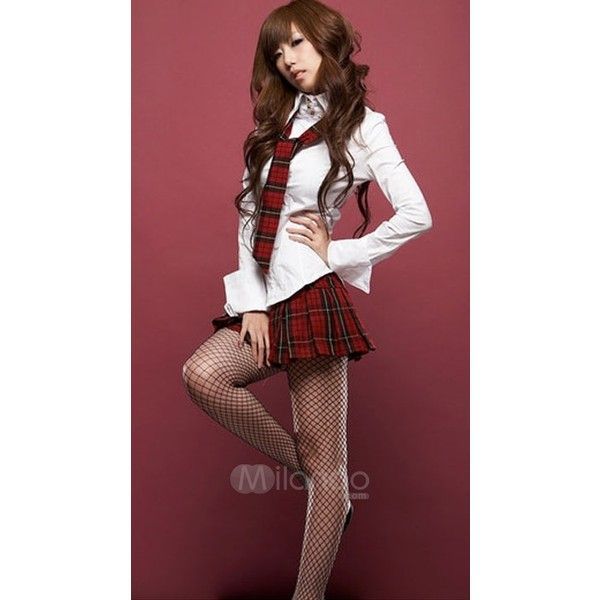 White And Red Long Sleeves Sexy School Girl Costume - Sexy Costumes - Sexy Lingerie - Milanoo.com found on Polyvore featuring polyvore, fashion, clothing, costumes, sexy red costumes, sexy schoolgirl halloween costume, school girl, schoolgirl costume and sexy school girl costume