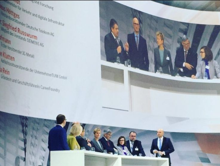 """Regram from our CEO @raffaelarein (team CF are super proud!) """"Panel this morning with the Economic Minister Siegmar Gabriel CEO of Telekom Tim Höttges Chairman of Siemens Prof. Dr. Rosswurm Minister for Education Dr. Johanna Wanka and BMW majority shareholder Susanne Klatten at the national IT Summit. The topic was digitalization of the economy. I think digitalization is more than creating venture funds or a gigabit society. Rather we need a mindset shift towards putting the user at the…"""