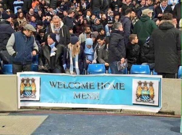 Kibice Manchesteru City rozwiesili plakat podczas meczu Ligi Mistrzów • Witaj w domu Lionel Messi • Wejdź i zobacz plakat fanów >> #mancity #manchestercity #football #soccer #sports #pilkanozna #funny