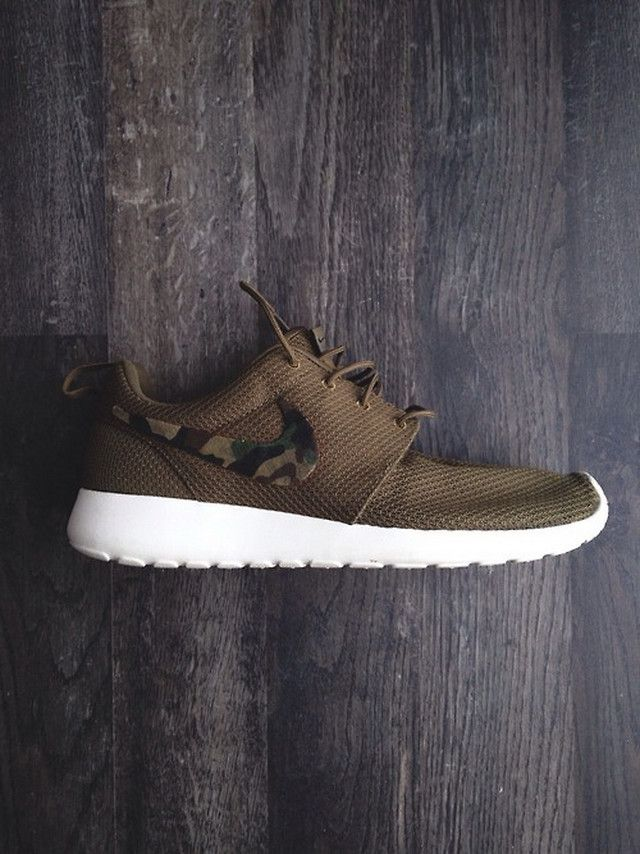 bef1475ca97e2 ... Brown Mesh and Camo Sneaker, the Roshe, by Nike. Men's Spring Summer  Fashion ...