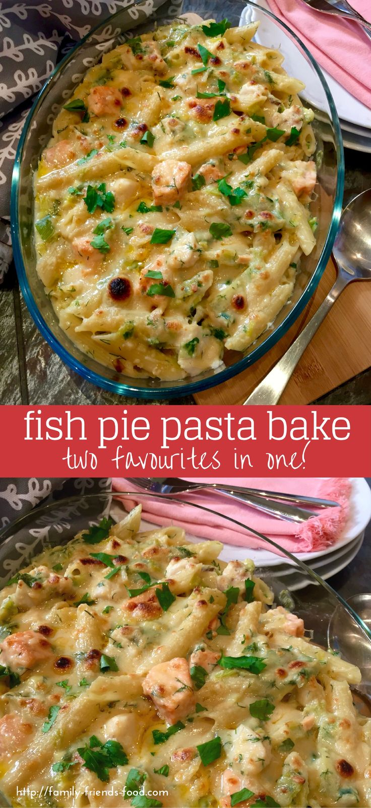 Fish pie pasta bake combines the comforting creamy filling of a great fish pie with everyone's favourite golden-cheesy-topped pasta bake. Perfect!