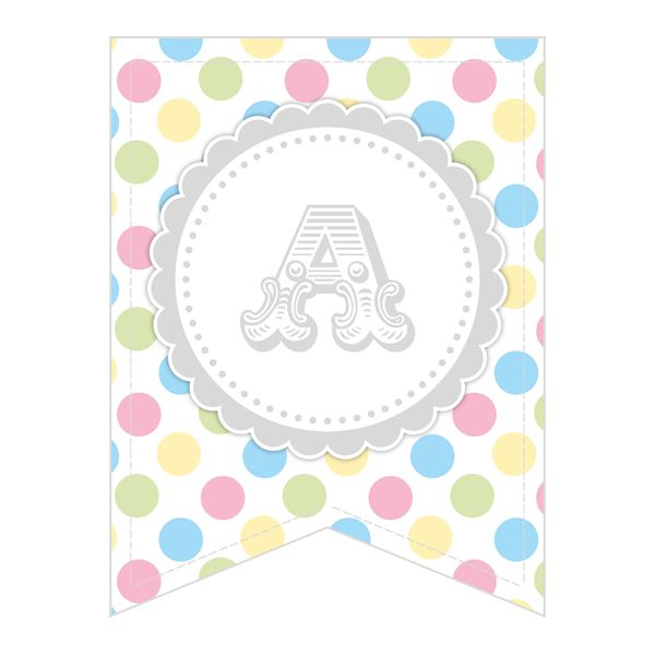 Free Printable - Whole Alphabet Pastel Party Polka Dot Banner/Bunting & Numbers - The Cottage Market