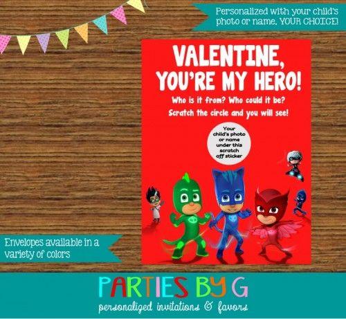 PJ Masks Valentine Valentine's Day Scratch Off Cards Personalized