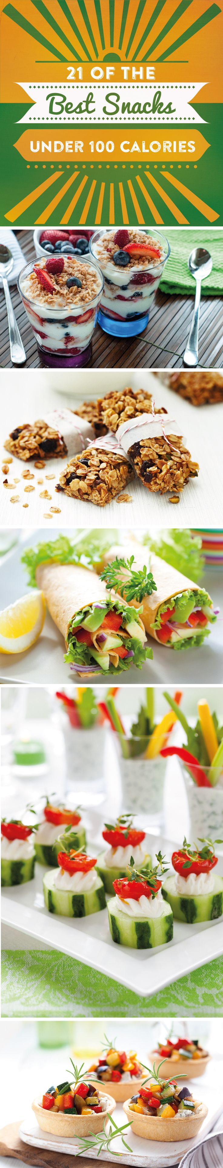 Sometimes you need a nosh without wrecking your diet. Check out these 21 of the best snacks under 100 calories, with recipes and serving suggestions!