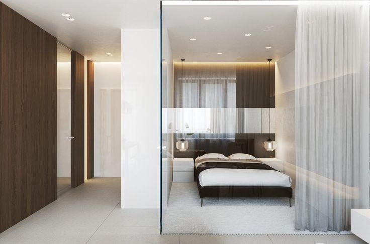 Фотография: Спальня в стиле Современный, Малогабаритная квартира, Квартира, Дома и квартиры, Минимализм, Переделка, контрасты, спокойная гамма, стеклянная стена, как из однокомнатной квартиры сделать двухкомнатную – фото на InMyRoom.ru