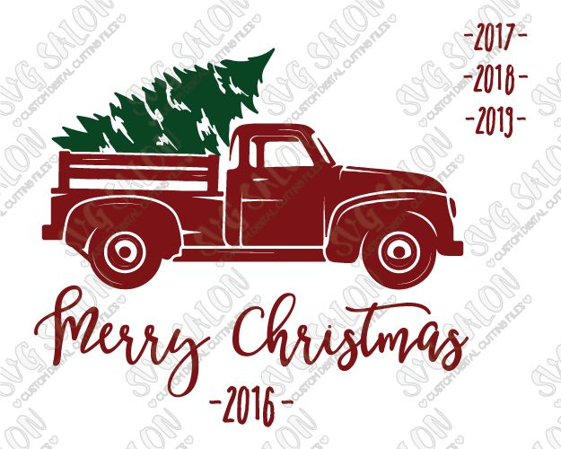 Free Christmas Tree Pick Up Part - 26: Free Merry Christmas Vintage Red Truck Cut File In SVG, EPS, DXF, JPEG