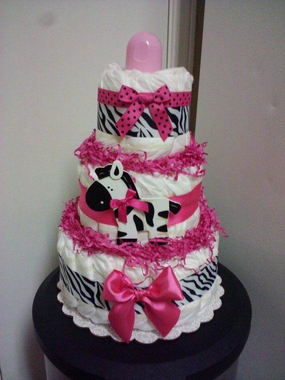 Modern Hot pink ZEBRA diaper cake, baby shower decoration. $36.00, via Etsy.