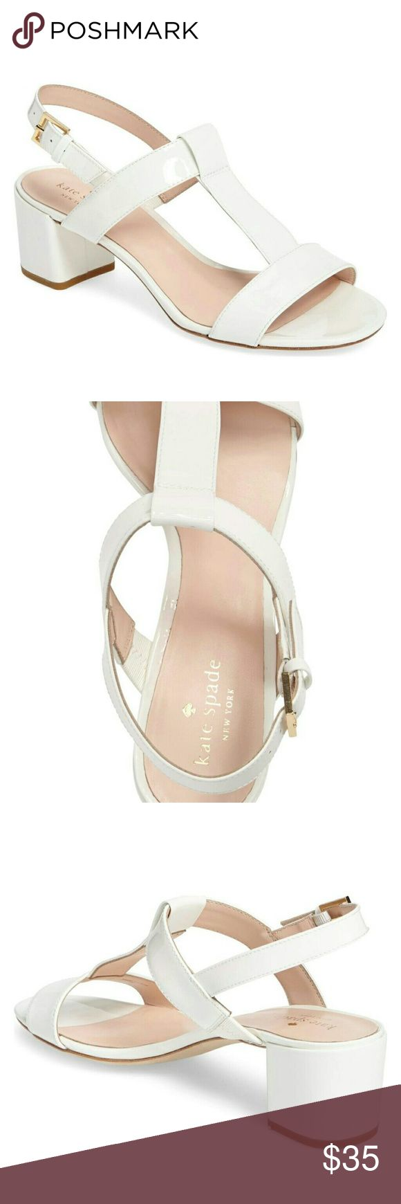 KATE Spade Patricia white patent sandal unworn These Kate Spade patent vintage style low block heel shoes are unworn and the only thing that separates them from a brand new pair is the sharpie heart drawn on the sole! kate spade Shoes