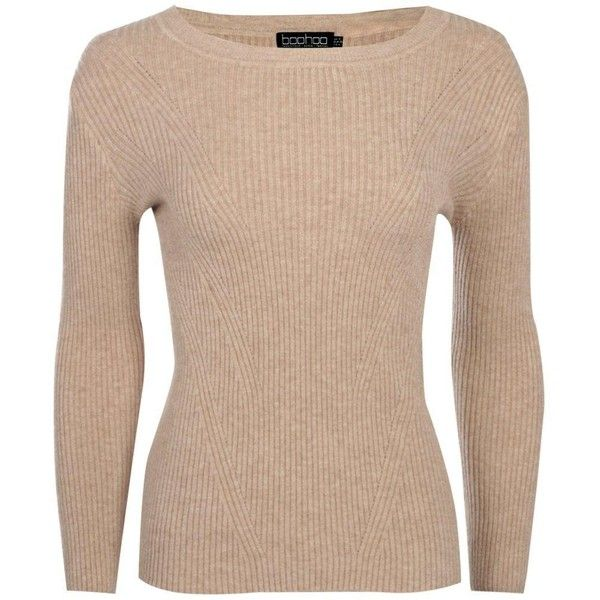 Boohoo Alice Rib Detail Jumper (£9.55) ❤ liked on Polyvore featuring tops, sweaters, beige knit sweater, knit sweater, knit wrap sweater, wrap sweater and marled sweater