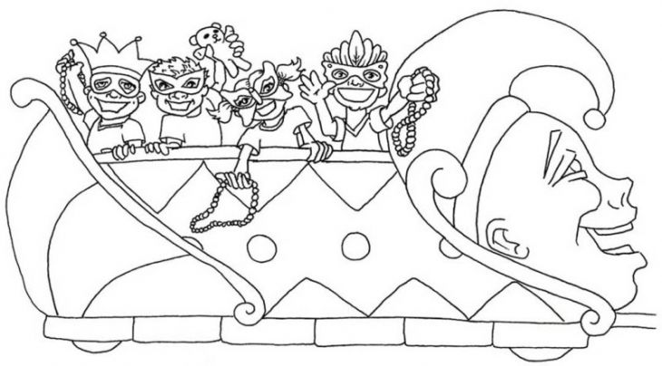 A Colorful Parade Of Float On Mardi Gras Coloring Page