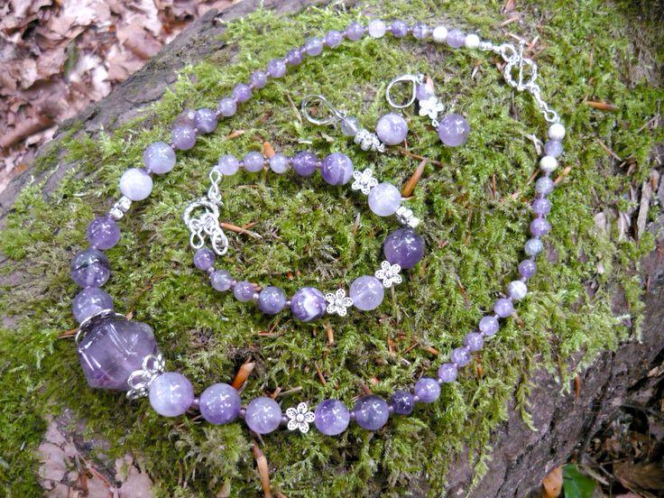 Amethyst set - necklace, bracelet, earrings - unique