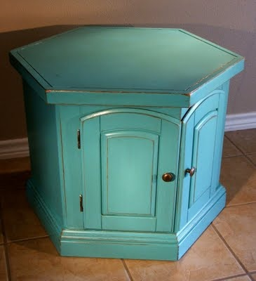 Facelift Furniture: Turquoise Hexagon End Table