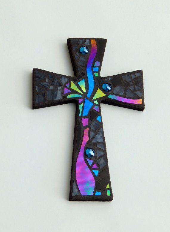 "Mosaic Wall Cross, Abstract Modern Art, Black with Iridescent Stained Glass, Handmade Mosaic Design,  12"" x 8"" by GreenBananaMosaicCo"