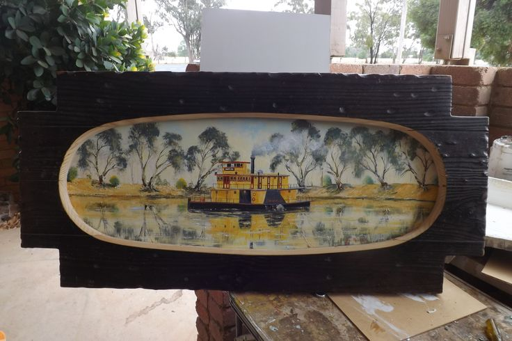 Emmylo Paddle Boat Echuca  Oil Painting Frame Is an Old Coffe Table