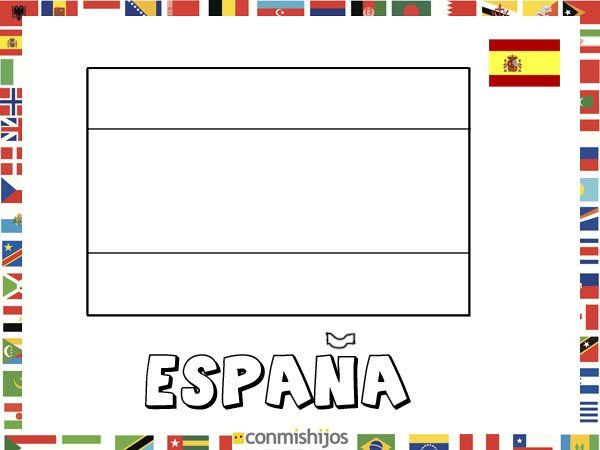 Bandera de España. Dibujos de banderas para pintar