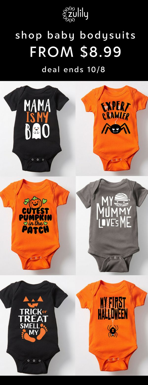 Sign up to shop baby Halloween bodysuits starting at $8.99. With the spooky-sweet tees and festive accessories below, your little candy monster will be the cutest pumpkin on the block. Deal ends 10/8.