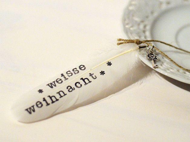 Baumschmuck: Sonstige - Geflügelte Worte -Anhänger // weiße Weihnacht - ein Designerstück von JadeGrafik bei DaWanda