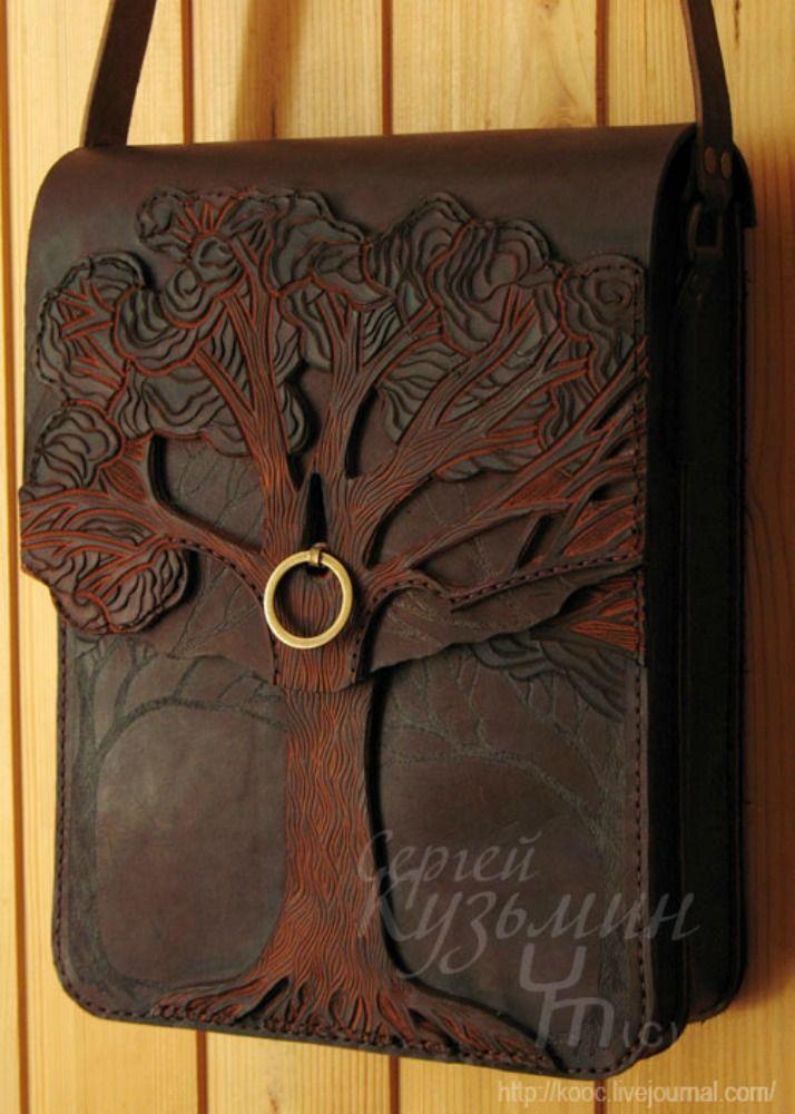 Leather tree purse.