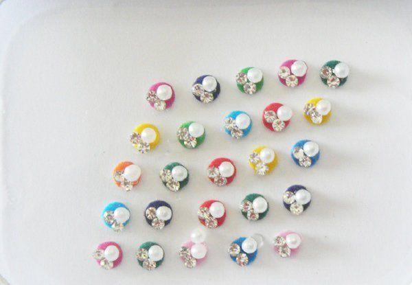 25 Small Size Colorful Pearl Bindi Gorgeous Fake Nose Stud Velvet Face Sticker E...