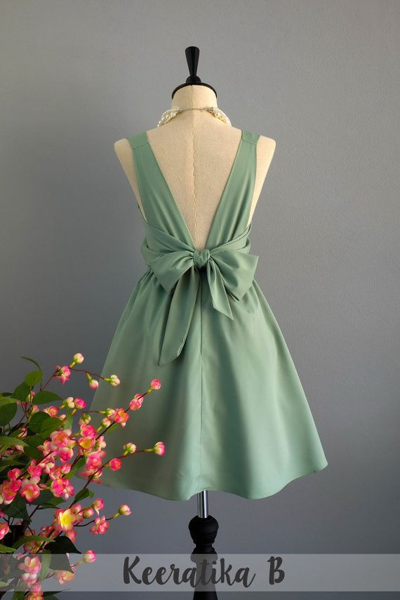 Sage green bridesmaids dress - handmade big bow cocktail dress