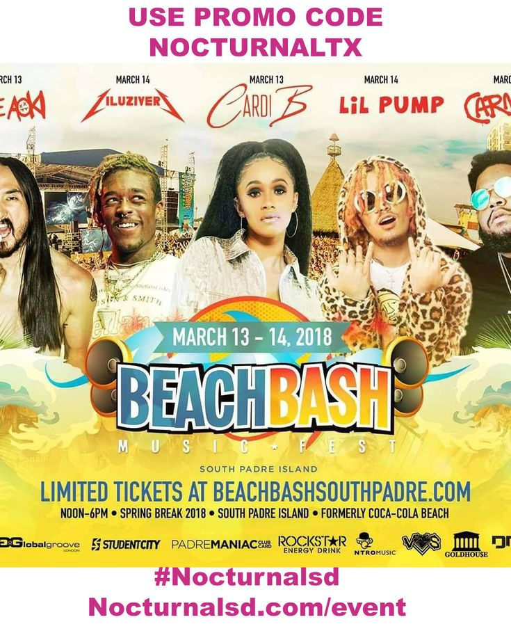 "Beach Bash Music Fest 2018 Promo Code ""nocturnaltx"" spring break    MARCH 7 - MARCH 21  Beach Bash Music Fest 2018 Promo Code NocturnalTx South Padre Spring Break  BEACH BASH MUSIC FEST 2018 PROMO CODE NOCTURNALTX SOUTH PADRE SPRING BREAK  Beach Bash Music Fest 2018 Promo Code NocturnalTx South Padre Spring Break. Get your discount passes into the biggest music fest in South Padre. Enjoy beach party with all the hottest people. Let yourself enjoy some of the biggest names in music this…"