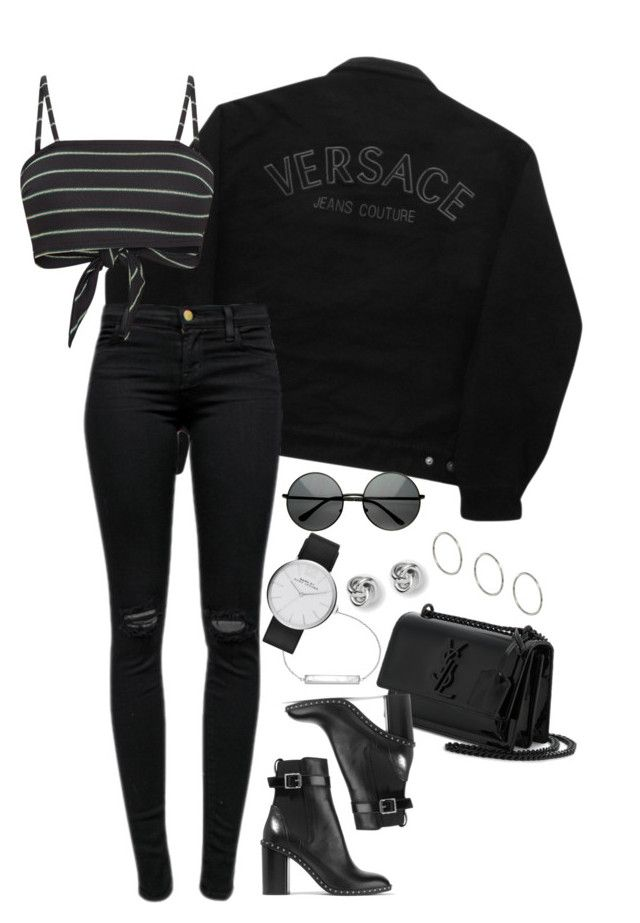 """Sem título #1431"" by manoella-f on Polyvore featuring moda, Versace Jeans Couture, J Brand, rag & bone, Yves Saint Laurent, CLUSE, Marc Jacobs, ZeroUV, FOSSIL e ASOS"