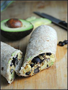Black Bean Breakfast Burrito   This is one protein-packed, high-fiber start to the day. For 310 calories, this one keeps me going…and going…and going. No mid-morning tummy grumbles after one of these. Plus, they're so quick and easy to make and you can add or remove any veggie of your choosing.   From: preventionrd.com