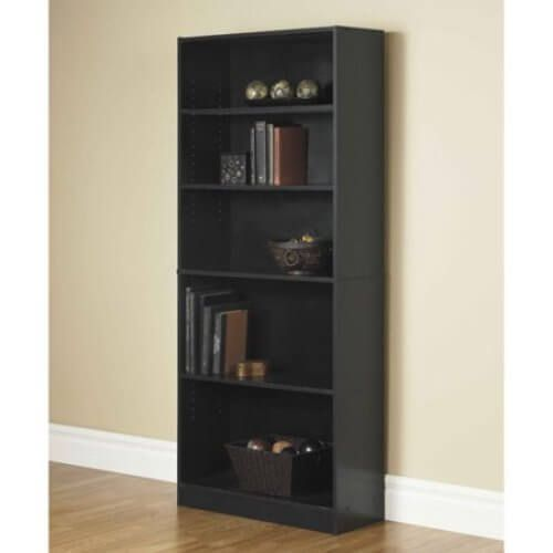 Bookcase WIDE 5 Shelf Bookshelf Adjustable Shelving Book Wood Storage Black NEW #1