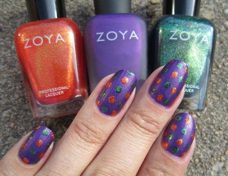 "Halloween Polka Dots With Zoya (Concrete and Nail Polish) [""I started with Zoya Savita and added dots in Zoya Amy and Zoya Logan.""]"