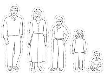 Εικόνες από οικογένειες για να χρωματίσουμε, να κόψουμε και να κολήσουμε σε γλωσσοπίεστρα για να παιξουμε κουκλοθέατρο. Εννοείται ότι το ίδιο μπορεί να γίνει και με το ελεύθερο σχέδιο των παιδιών. Και