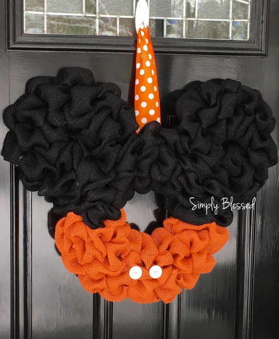 Heres a Mickey Mouse wreath for the UT Volunteer fan or anyone that has a team color with orange. It could even be used for Halloween. I can do