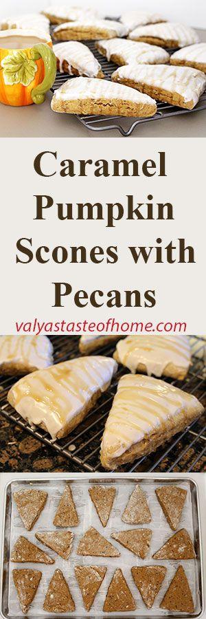 Caramel Pumpkin Scones with Pecans http://valyastasteofhome.com/caramel-pumpkin-scones-with-pecans #caramelpumpkinsconeswithpecans #pumpkin #scones #soft #loadedwithflavor #fall