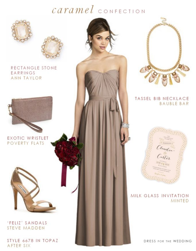 Taupe Bridesmaid Dress  --  Dress: After Six  // Earrings:  Ann Taylor // Necklace: Bauble Bar  // Invitation: Minted //  Sandals: DSW // Wristlet: Nordstrom