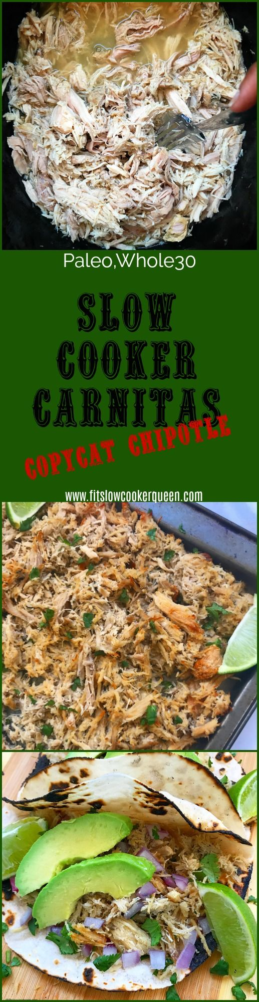 paleo whole30 slow cooker crockpot - This is a slow cooker copycat of Chipotle's carnitas recipe. The end result is succulent shredded pork that's then broiled in the oven until crisp. Being low-carb, paleo, whole30, keto and more, you can use this carnitas meat in so many ways.