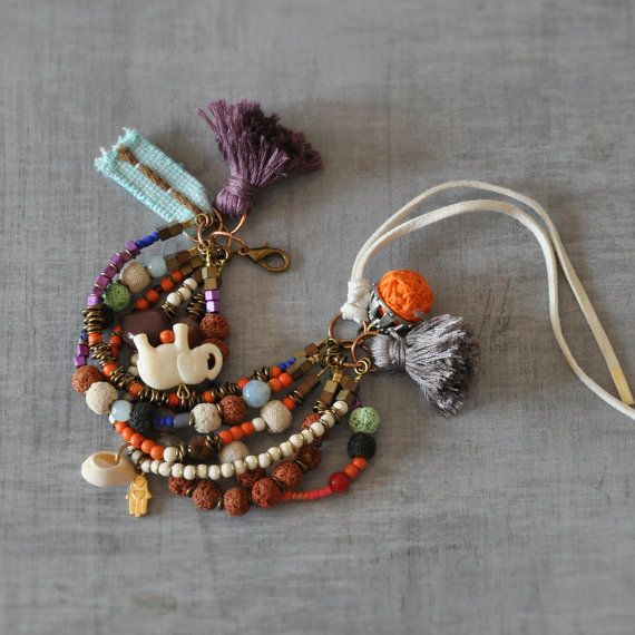 Bohemian Gemstone Bangle  Hippie Tassel Bangle  by stellacreations
