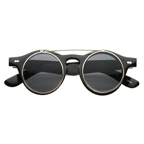 Buy Small Retro Steampunk Circle Flip Up Glasses / Sunglasses - 2950 by Frame & Optic Inc on OpenSky
