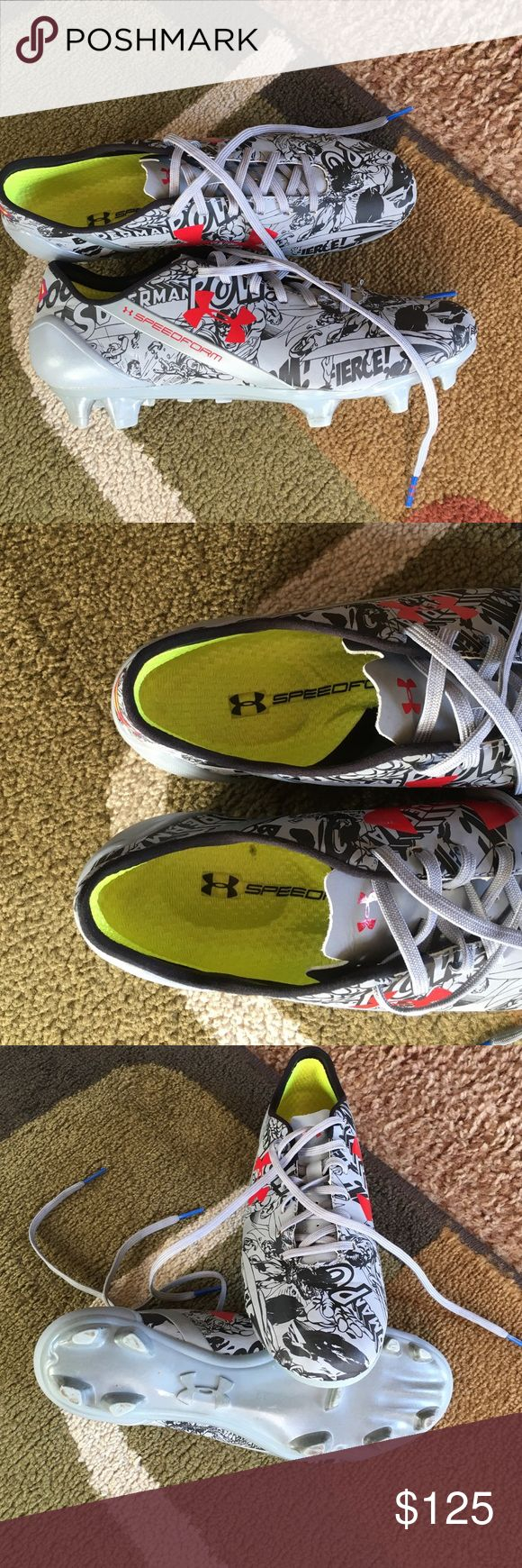 """Under Armour speedform Superman cleats Man made upperthis pair is unique the right """"S"""" is backwards see pic 2 Under Armour Shoes Athletic Shoes"""
