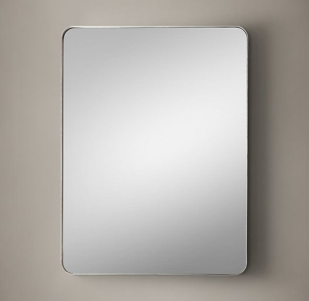 "***MASTER BATHROOM ~ Restoration Hardware, Bristol Flat Mirror 40"" x 30"" Polished Nickel (Other finishes; other sizes) $550 on special. (Check Uttermost and with Crest Lighting.)"