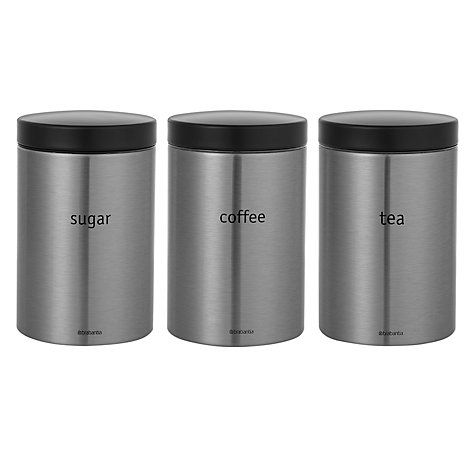 Buy Brabantia Tea, Coffee and Sugar Canisters, Matt Stainless Steel Online at johnlewis.com