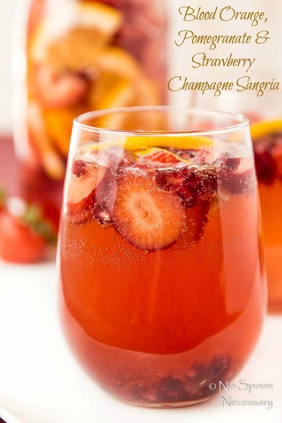 Blood Orange, Pomegranate & Strawberry Champagne Sangria @nospoonn
