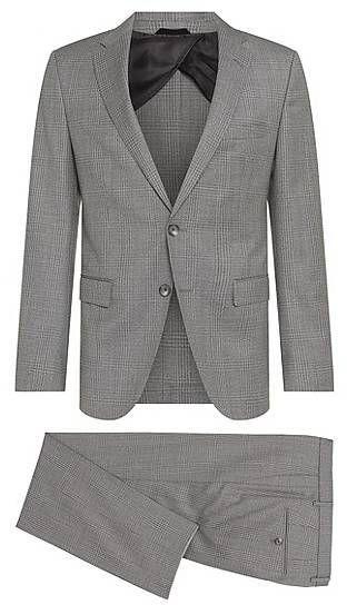BOSS Karierter Slim-Fit Anzug aus reiner Schurwolle: 'Nortan/Benno'