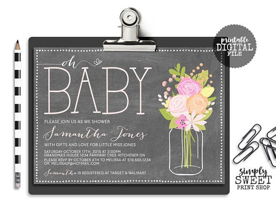 Oh Baby Girl Baby Shower Invitation Mason Jar Butterfly