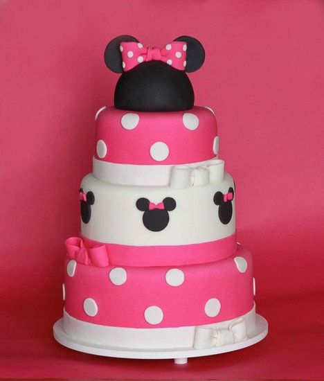 Minnie Mouse Birthday Cake: Order a one-of-a-kind Minnie masterpiece for your lil's birthday to serve as the centerpiece for your dessert table. This Minnie Mouse birthday cake looks too cute to eat!Source: The Cookie Shop