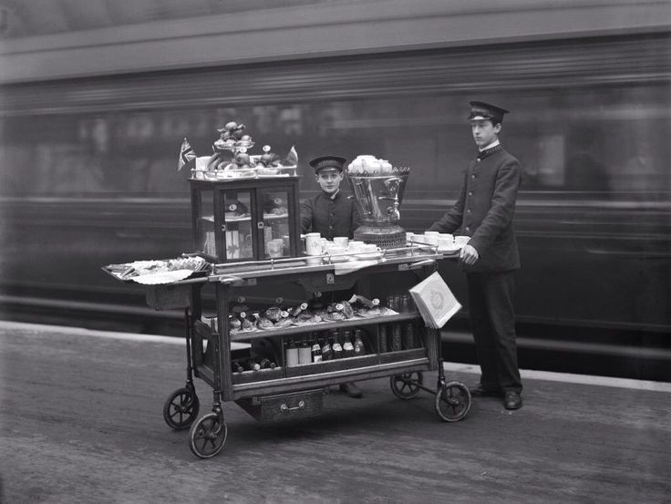 Behold the railway refreshment trolley as it used to be, ready for high tea at Paddington Station in London c.1915.