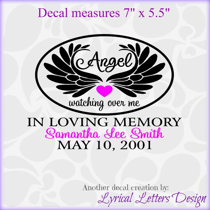 For Brittany Angel Wings In Loving Memory Decal Two Color