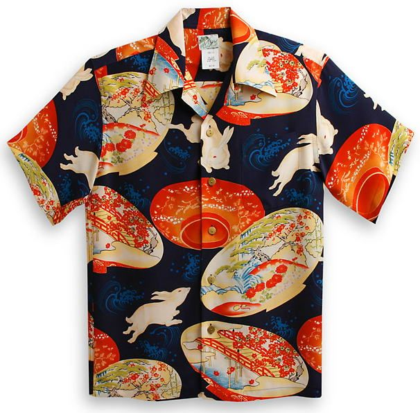 Japanese rabbits on a Hawaiian aloha shirt