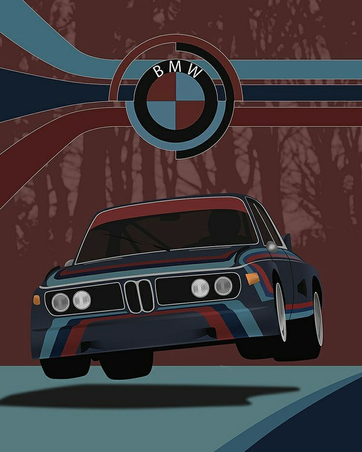 One of my favorite illustrations I made.  My take on the famous flying BMW CSL at Nurburgring picture.